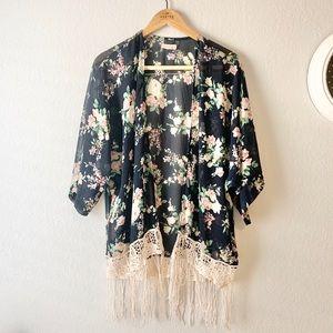 Rachael and Chloe | Black and Pink Floral Kimono